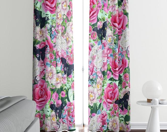 Boho Rose Floral Window Curtains