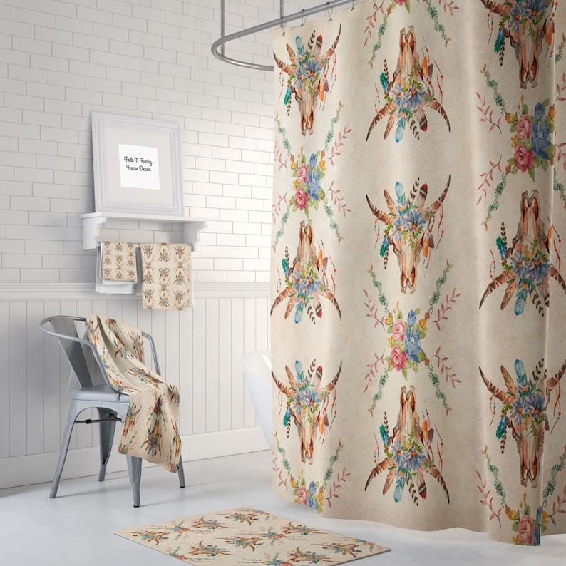 Boho Chic Shower Curtain Bath Towels Mat Southwest