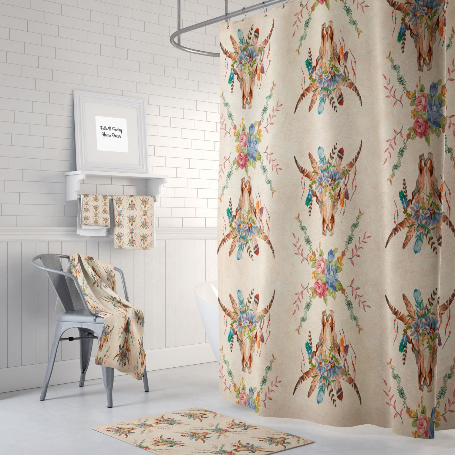 Boho Chic Shower Curtain Bath Towels Mat Southwest Bull Skull Grunge Floral Beige