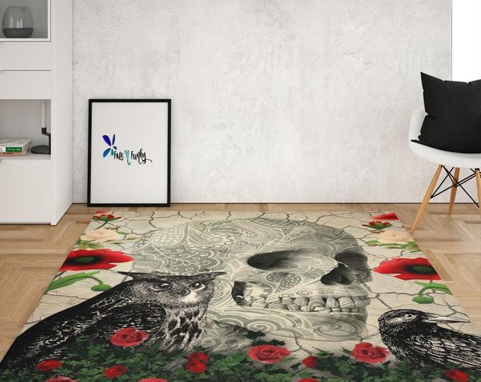 Gothic Skull Rug, Area Rug Throw Rug, 4 Sizes Available