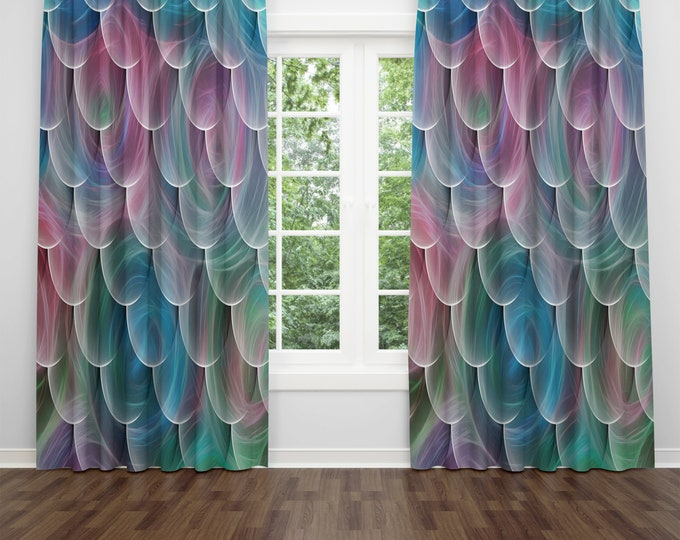 Swirling Whispers Window Curtains, Blackout or Sheer Window Treatments, Boho Chic Curtain Panels