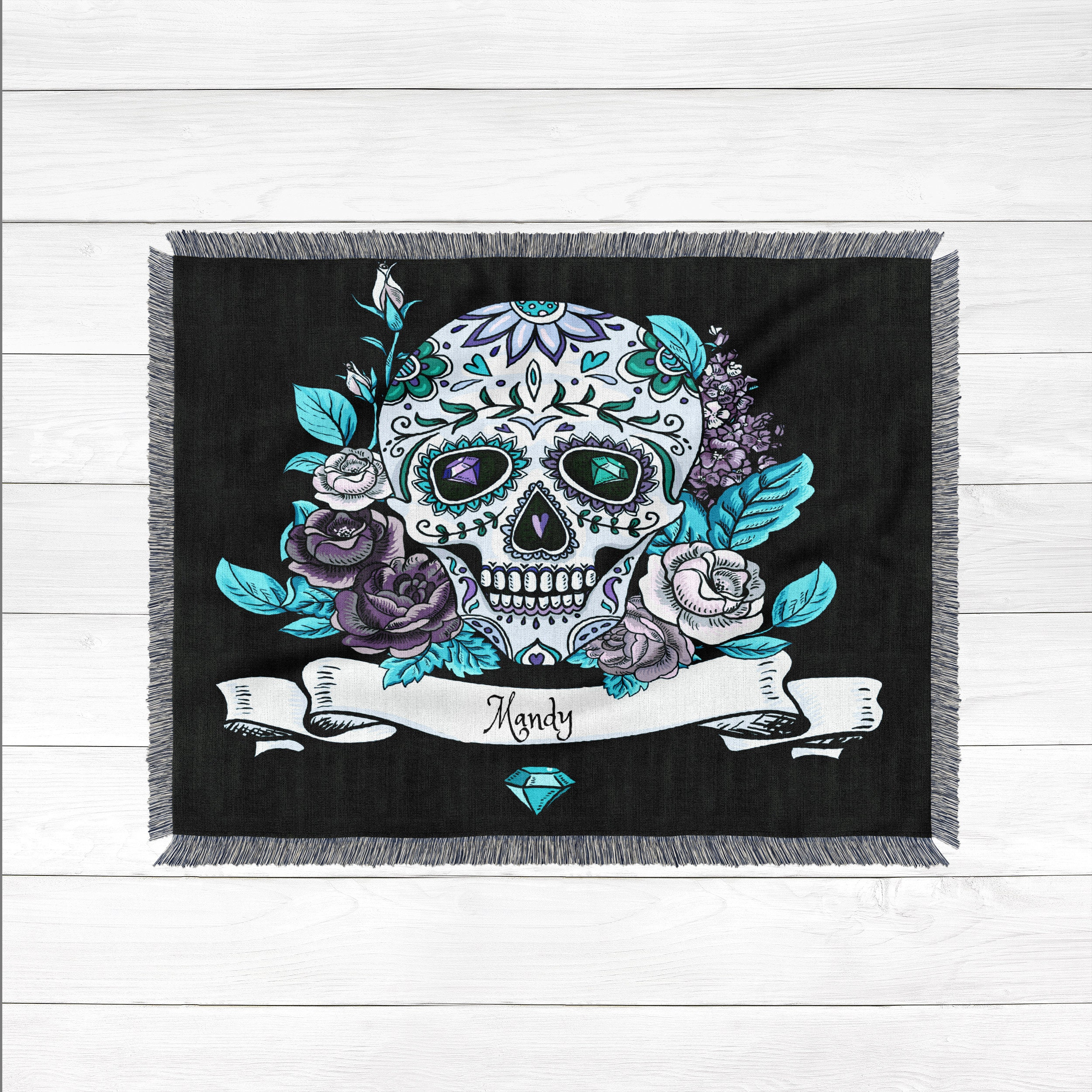 sugar skull blanket custom personalized woven blanket 100 cotton