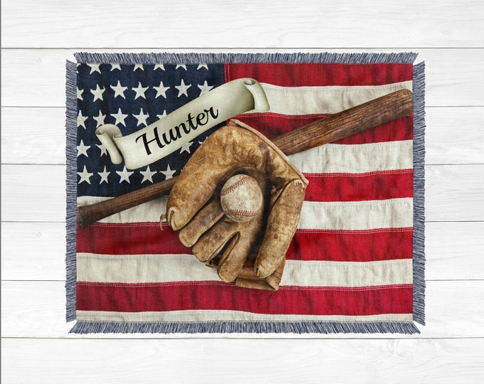 Custom Personalized Woven Blanket, 100% Cotton Blanket, Personalized Baseball Blanket,  American Flag Blanket