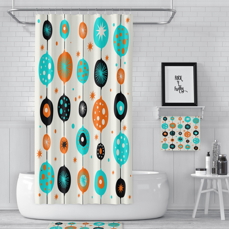 Shower Curtain Mid Century Modern Bath Towels Mat Bathroom Sets Turquoise Orange Black