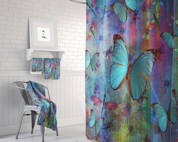 Boho Chic Dragonfly Butterfly Shower Curtain  Optional Bath Mat and Towels,