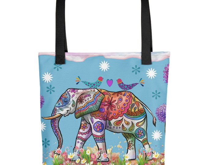 Elephant Tote Bag, Boho Fun