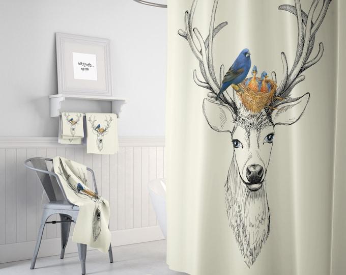 Deer and Bird Shower Curtain