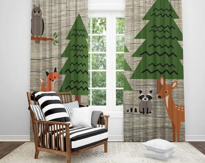 Woodland Animal Window Curtains, Lodge Theme Curtain Panels, Rustic Home Decor
