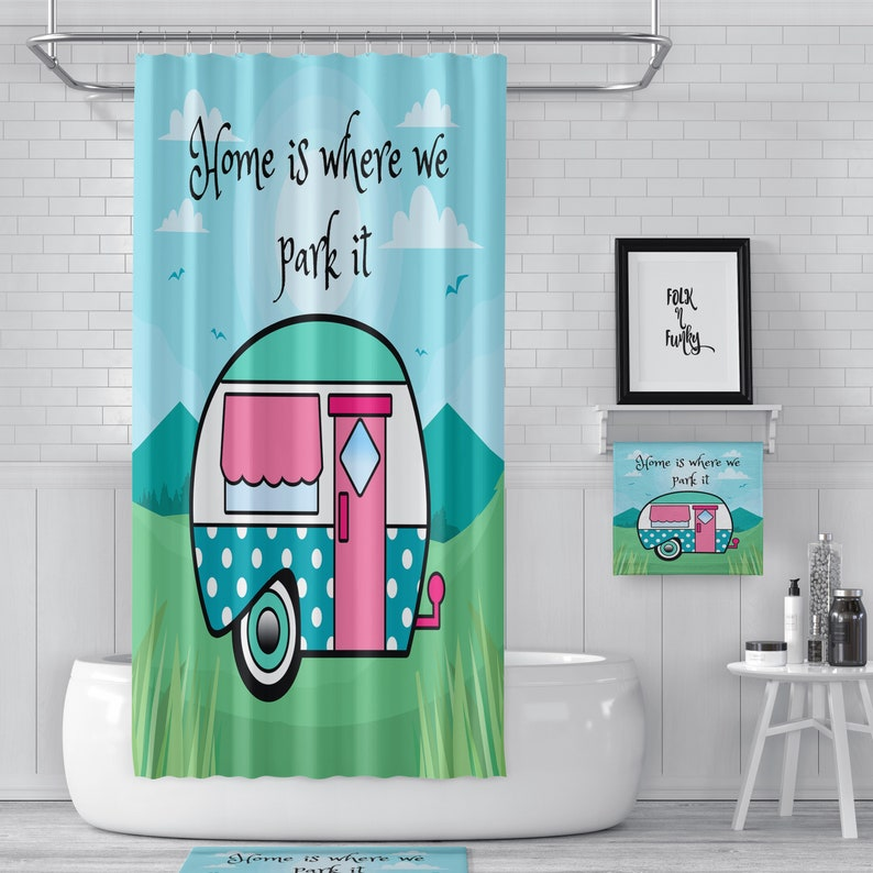 Shower Curtain Rv Size 47 X64 Home Is Where We Park It