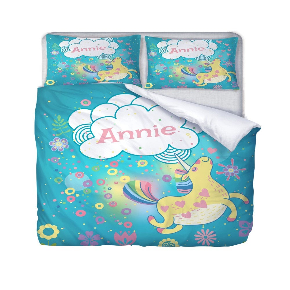 unicorn bedding personalized duvet cover or comforter optional