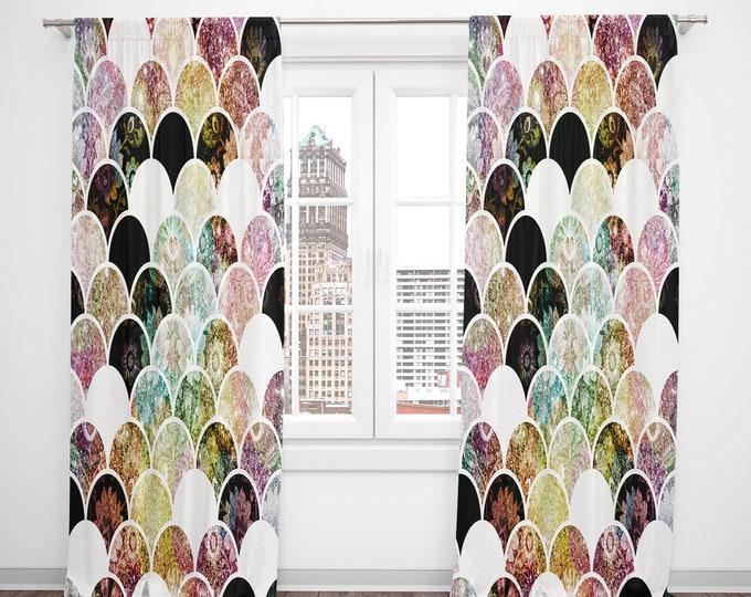 Boho Mermaid Scales Window Curtains