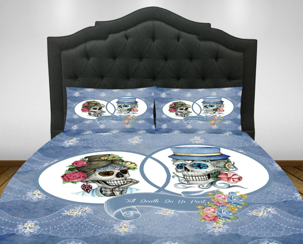 Sugar Skull Comforter Set Or Duvet Cover Till Death Do