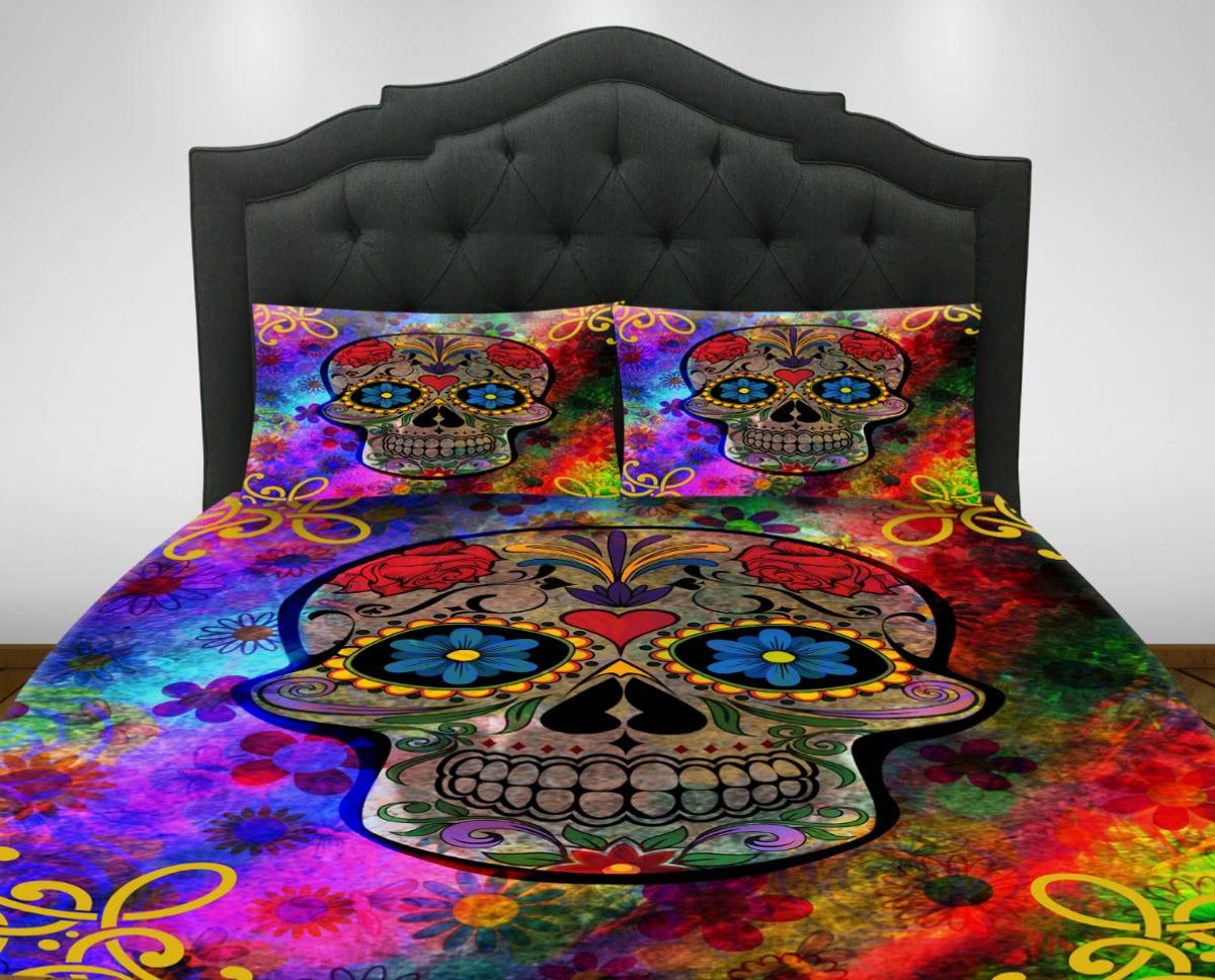 Candy Skull Bedding: Sugar Skull Bedding Comforter Set Duvet Cover Day Of The