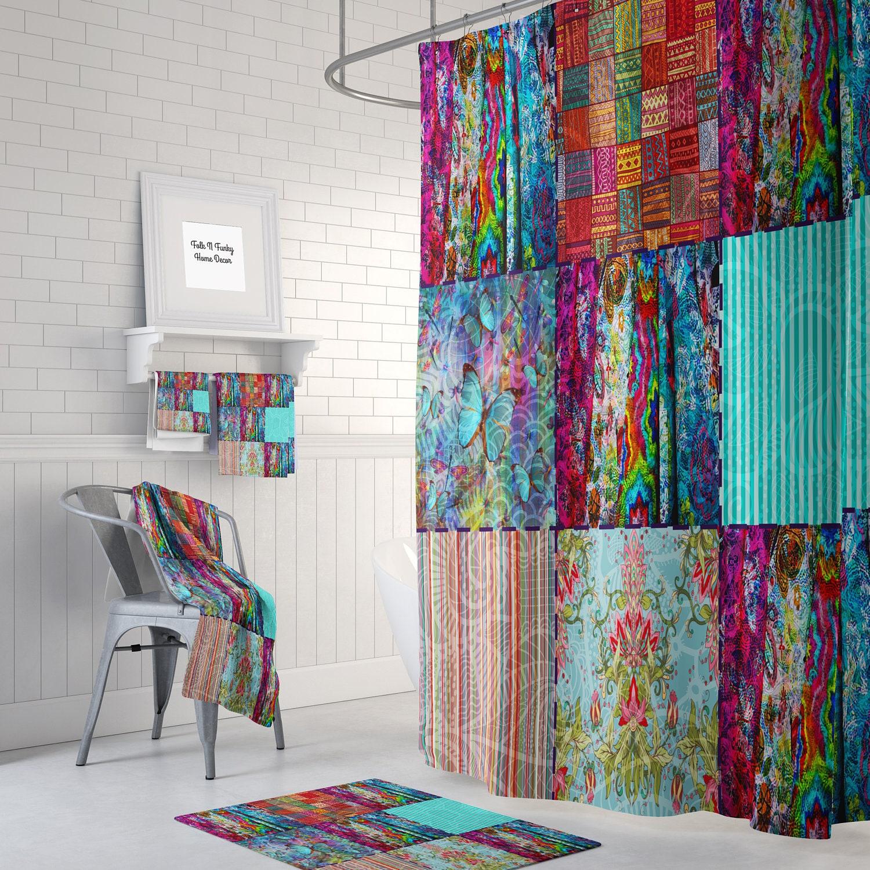 Boho Chic Shower Curtain Optional Bath Mat Bathroom Set Etsy