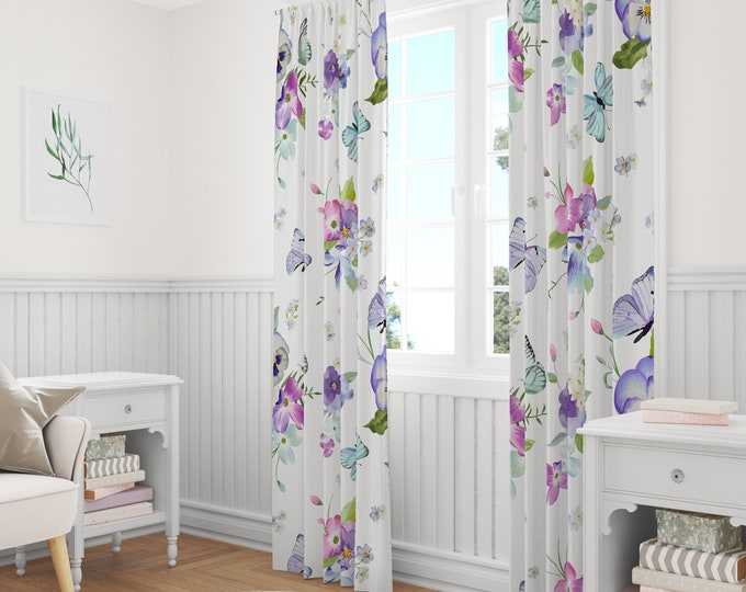 Pansy Floral Window Curtains
