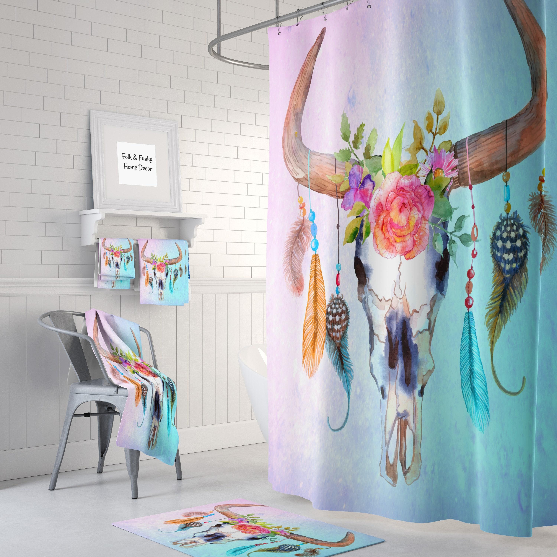 Shower Curtain Bull Skull Pastel Floral Dreamcatcher Boho Curtains Bath Towels Hand Mat Extra Large Mats