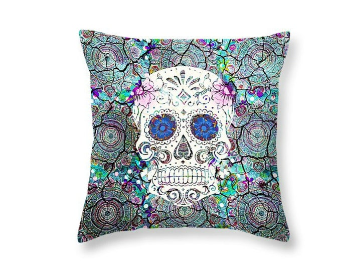 Sugar Skull Throw Pillow Crackled Mosaic