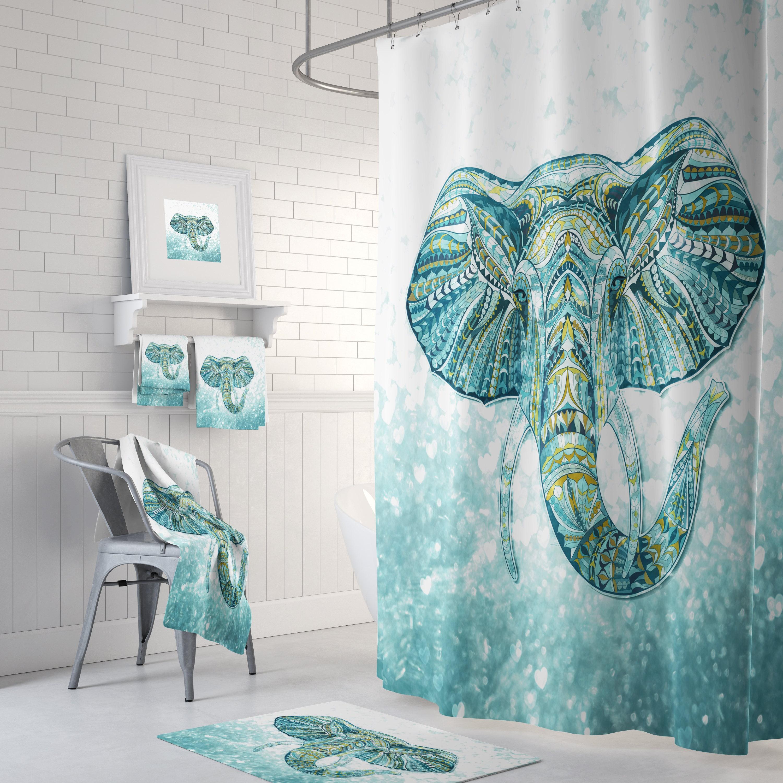 Boho Chic Elephant Shower Curtain Bath Mat Bath Towels Green Aqua Teal Bathroom Set