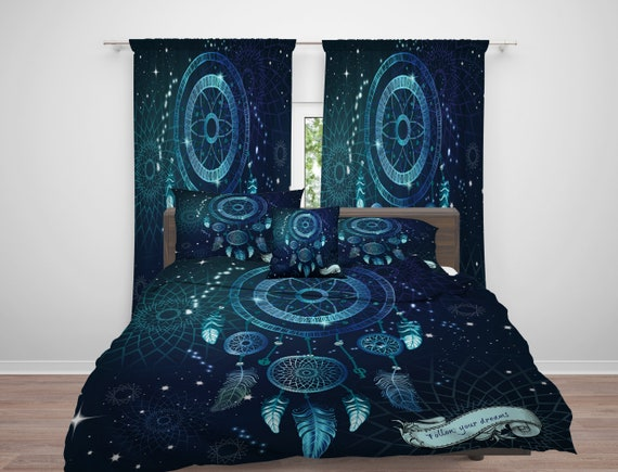Dream Catcher Comforter Or Duvet Cover Dreamcatcher Blue Etsy Amazing Dream Catcher Comforter