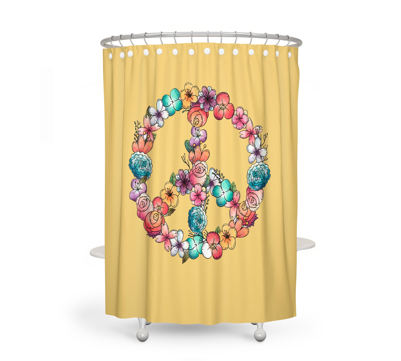 Floral Peace Sign Shower Curtain Optional Bath Mat Bathroom Set Sunny Yellow Hippie Decor