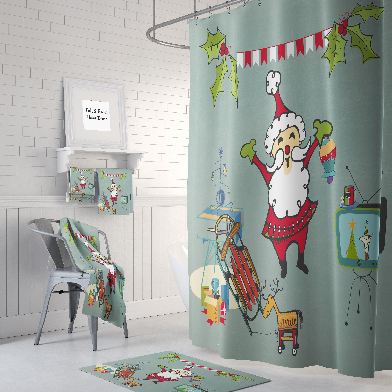 Weihnachten-Duschvorhang Mid Century Santa | Etsy