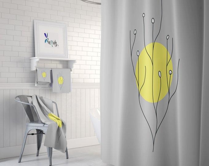 Shower Curtain Mid Century Modern Sun