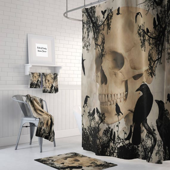 Gothic Skull And Crows Shower Curtain Day Of The Dead