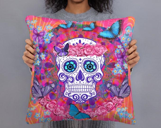 Sugar Skull Throw Pillow, Pink Throw Pillow, Daty Of The Dead Pillows, Skull Pillows, Sofa Pillows, Accent Pillows