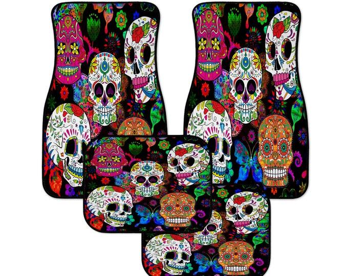 Sugar Skull Car Mats, Happy Skulls, Color Crazy Day Of The Dead Auto Mats