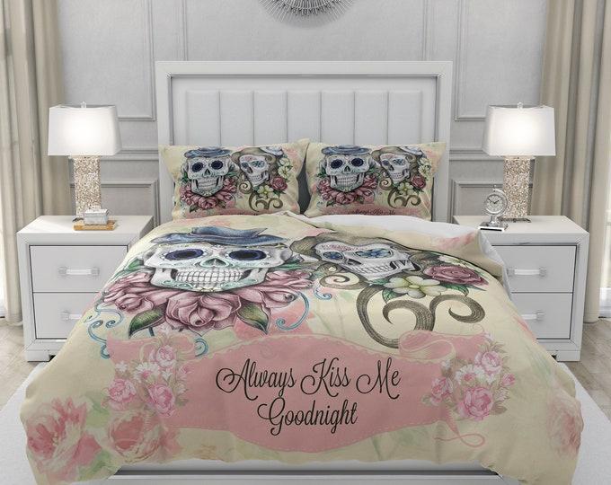 Sugar Skull Bedding Set , Always Kiss Me Goodnight Comforter or Duvet Cover