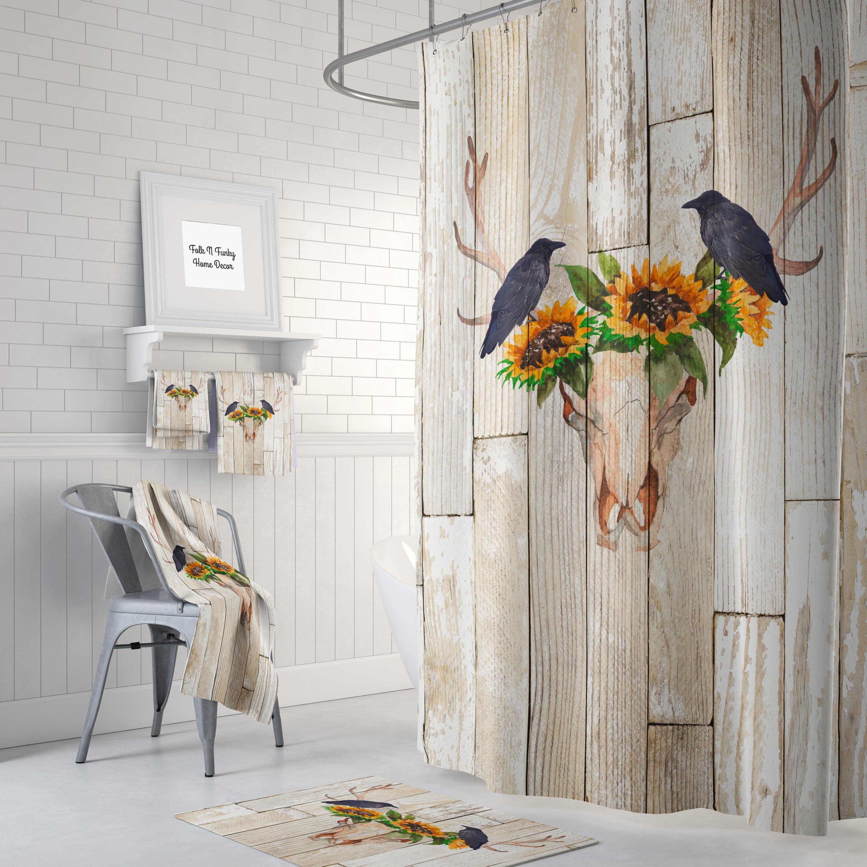 Rustic Shower Curtain Antlers Sunflowers Crow Wood Optional Bath Towels Mat Bathroom Set