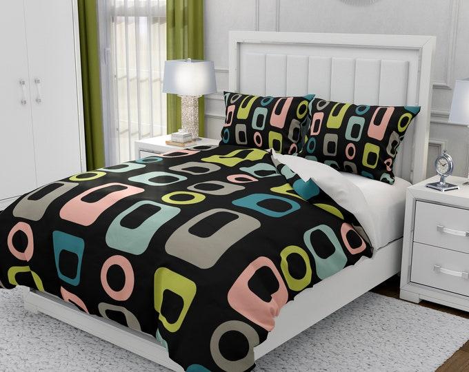 Mid Century Modern Bedding, Black Geometric  Duvet Cover or Comforter, Twin, Full, Queen, King