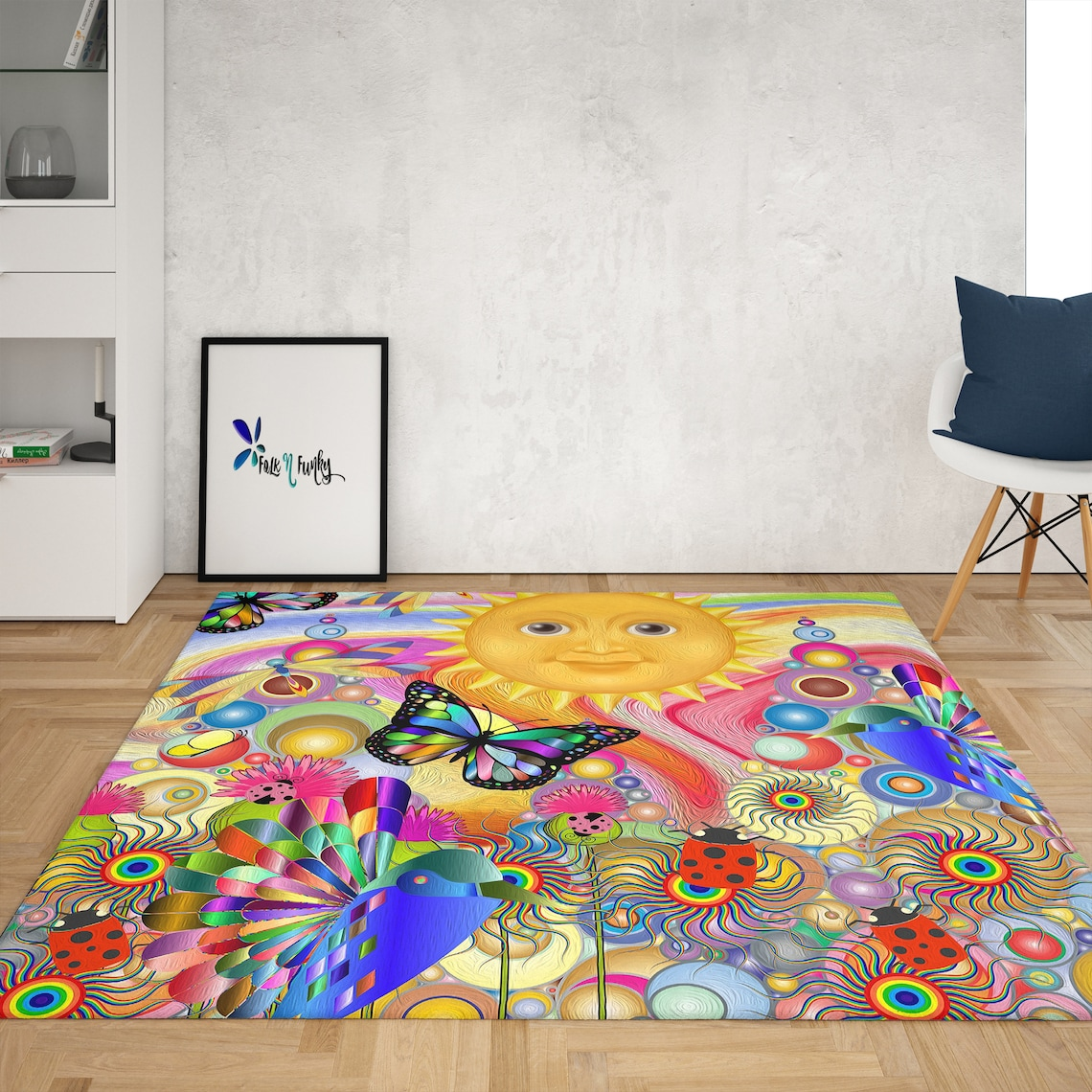Psychedelic Sunshine Rug, Area Rug by Folk and Funky