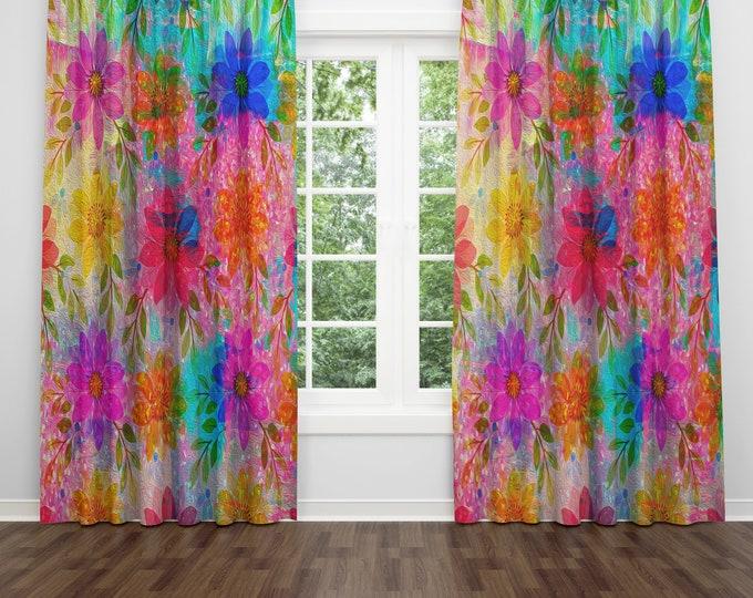 Hippie Flowers Window Curtains