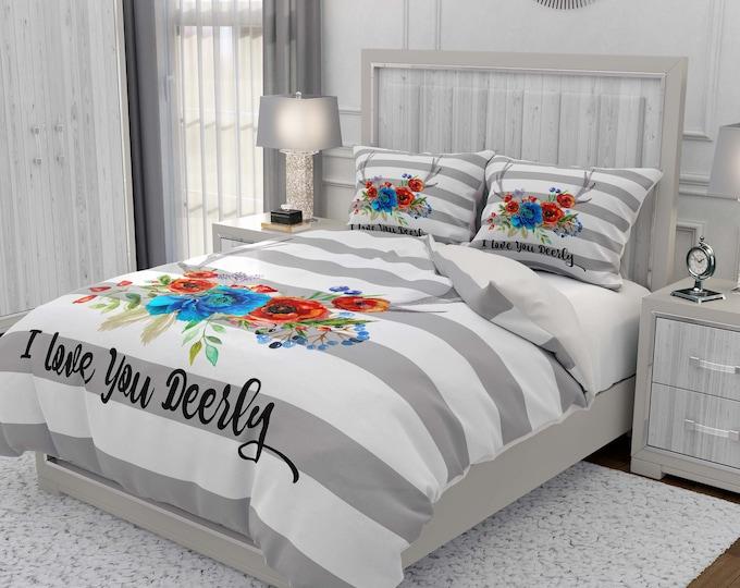 Boho Floral Antlers Comforter, Duvet Cover, Pillow Shams