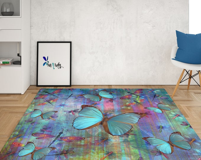 Dragonfly and Butterflies Throw Rug