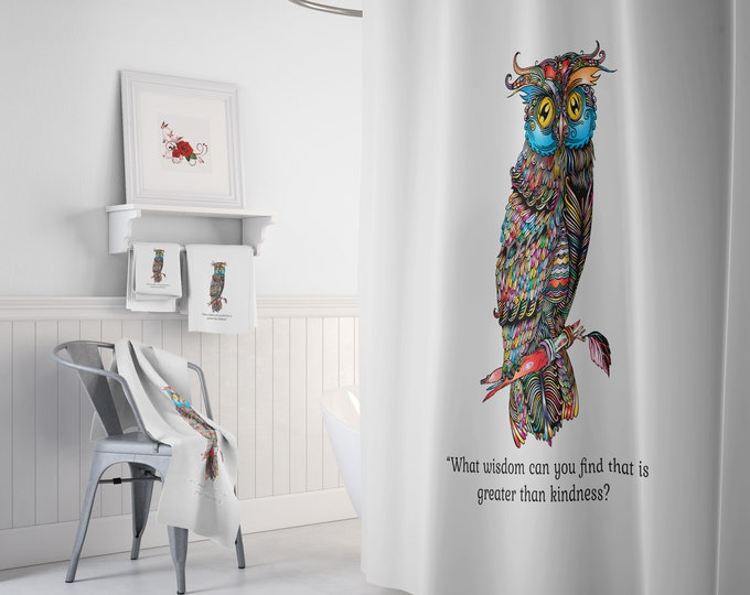 Kindness is Wise Owl Shower Curtain, Optional Accesories or Set