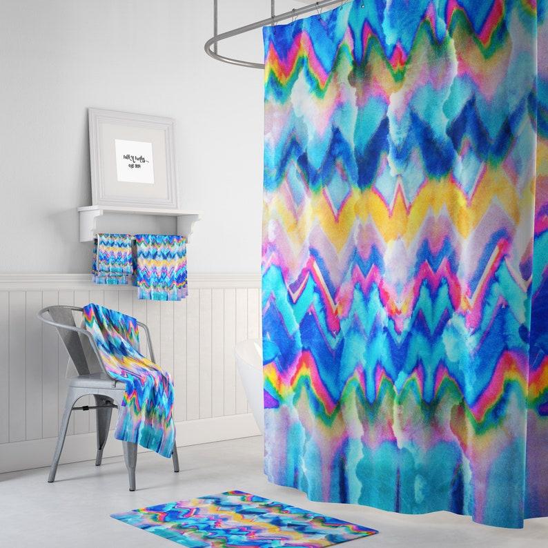 Shower Curtain Boho Hippie Faux Tie Dye Optional Towels