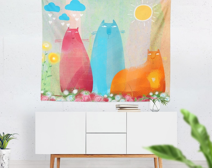 Flossies' Cats Wall Tapestry