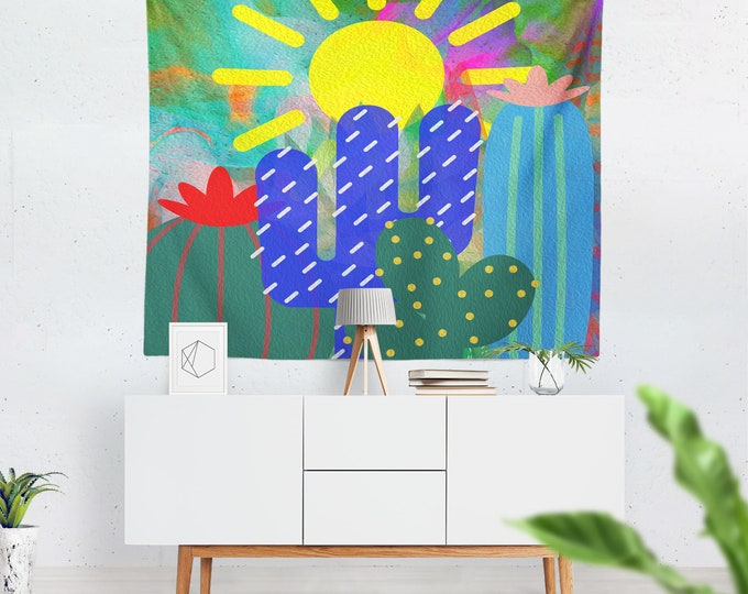 Cactus Abstract Wall Tapestry, Colorful Wall Decor