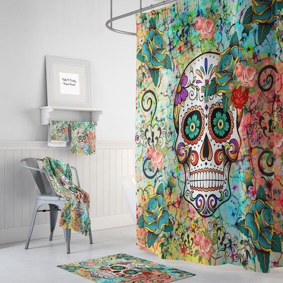 Abstract Skull Shower Curtain Sugar Skull Bathroom Set Etsy