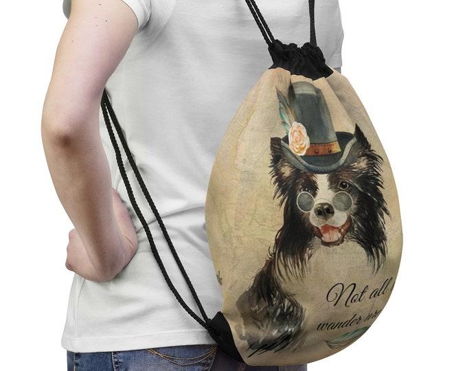 Border Collie Drawstring Bag, Backpack