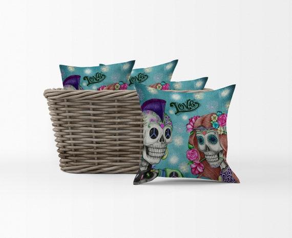 US Vendeur-Sugar Skull Housse de coussin Dia De Los Muertos décoratif taies