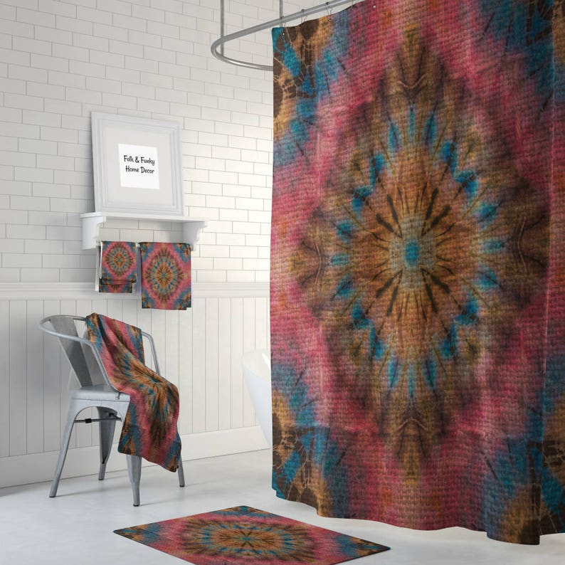 Hippie Faux Tie Dye Shower Curtain Optional Bath Mat