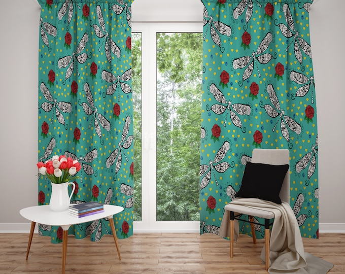 Whimsical Dragonfly Window Curtains
