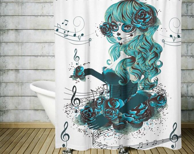 Sugar Skull Shower Curtain Teal Girl Skull Pretty Diva- Musical Notes