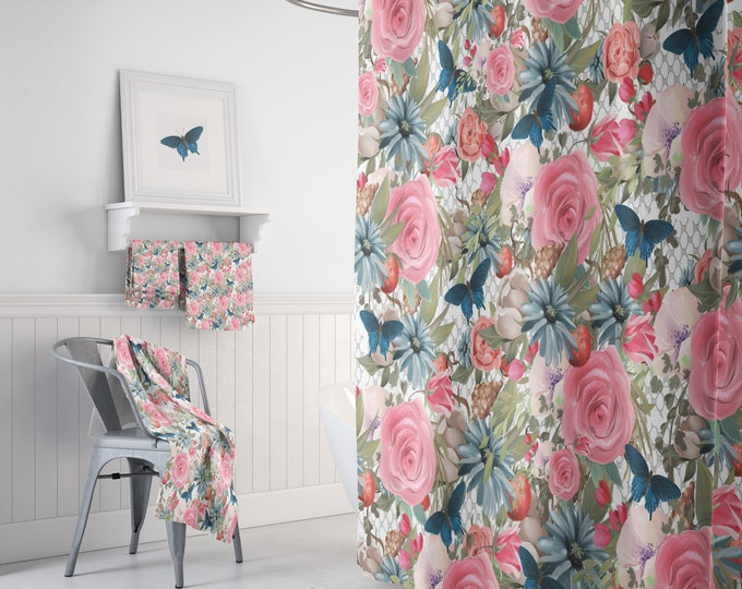 Shower Curtain Floral Butterfly Optional Bathroom Set or Accesories
