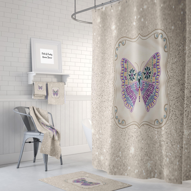 Boho Chic Shower Curtain , Sparking Butterfly, Optional Bath Mat ...