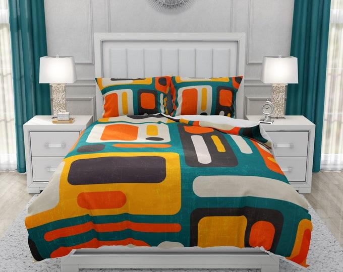 Retro Mid Century Modern Comforter, Duvet Cover, Pillow Shams Geometric Abstract