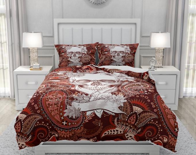 Brown Paisley Skull Bedding Comforter or Duvet Cover